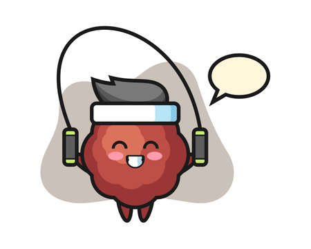 Meatball cartoon with skipping rope , cute style mascot character for t shirt, sticker design, logo element