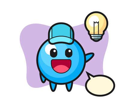 Gum ball cartoon getting the idea, cute style mascot character for t shirt, sticker design, logo element