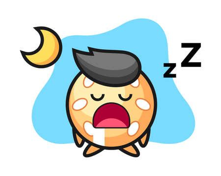 Sesame ball cartoon sleeping at night, cute style mascot character for t shirt, sticker design, logo element Illusztráció