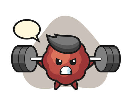 Meatball cartoon with a barbell, cute style mascot character for t shirt, sticker design, logo element