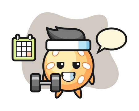 Sesame ball cartoon doing fitness with dumbbell, cute style mascot character for t shirt, sticker design, logo element