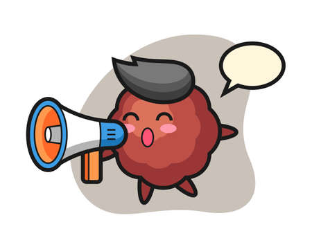 Meatball cartoon holding a megaphone, cute style mascot character for t shirt, sticker design, logo element Иллюстрация
