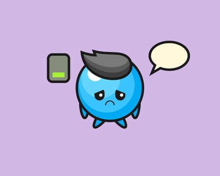 Gum ball cartoon doing a tired gesture, cute style mascot character for t shirt, sticker design, logo element