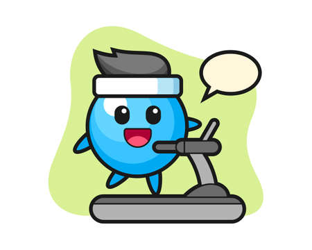 Gum ball cartoon walking on the treadmill, cute style mascot character for t shirt, sticker design, logo element
