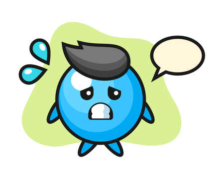 Gum ball cartoon with afraid gesture, cute style mascot character for t shirt, sticker design, logo element