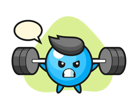 Gum ball cartoon with a barbell, cute style mascot character for t shirt, sticker design, logo element