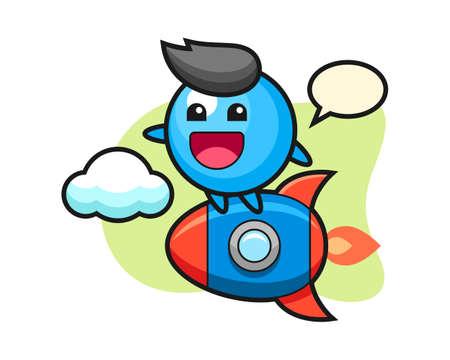 Gum ball cartoon riding a rocket, cute style mascot character for t shirt, sticker design, logo element  イラスト・ベクター素材