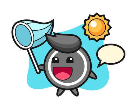 Hockey puck cartoon is catching butterfly, cute style mascot character for t shirt, sticker design, logo element Logo