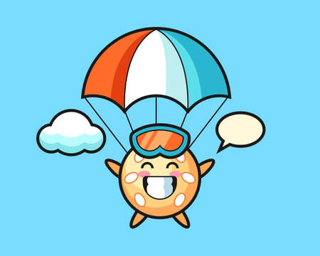 Sesame ball cartoon is skydiving with happy gesture, cute style mascot character for t shirt, sticker design, logo element