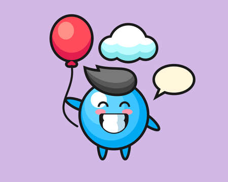 Gum ball cartoon is playing balloon, cute style mascot character for t shirt, sticker design, logo element