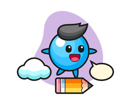 Gum ball cartoon riding on a giant pencil, cute style mascot character for t shirt, sticker design, logo element  イラスト・ベクター素材