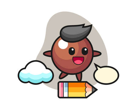Chocolate ball cartoon riding on a giant pencil, cute style mascot character for t shirt, sticker design, logo element