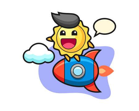 Sun cartoon riding a rocket, cute style mascot character for t shirt, sticker design, logo element