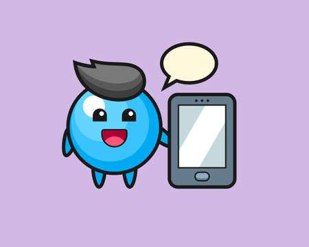 Gum ball cartoon holding a smartphone, cute style mascot character for t shirt, sticker design, logo element
