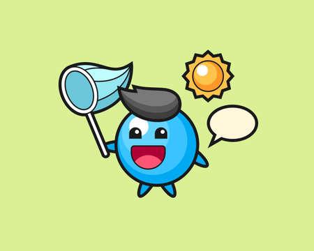 Gum ball cartoon is catching butterfly, cute style mascot character for t shirt, sticker design, logo element