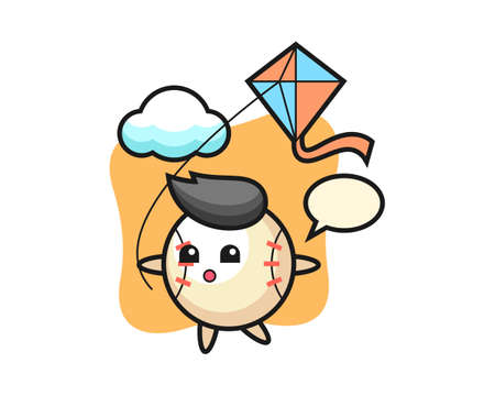 Baseball cartoon is playing kite, cute style mascot character for t shirt, sticker design, logo element