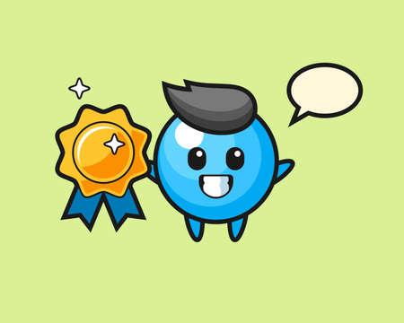 Gum ball cartoon holding a golden badge, cute style mascot character for t shirt, sticker design, logo element Illustration