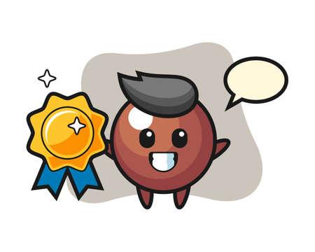 Chocolate ball cartoon holding a golden badge, cute style mascot character for t shirt, sticker design, logo element 일러스트