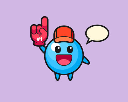 Gum ball cartoon with number 1 fans glove, cute style mascot character for t shirt, sticker design, logo element  イラスト・ベクター素材