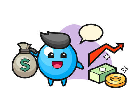 Gum ball cartoon holding money sack, cute style mascot character for t shirt, sticker design, logo element