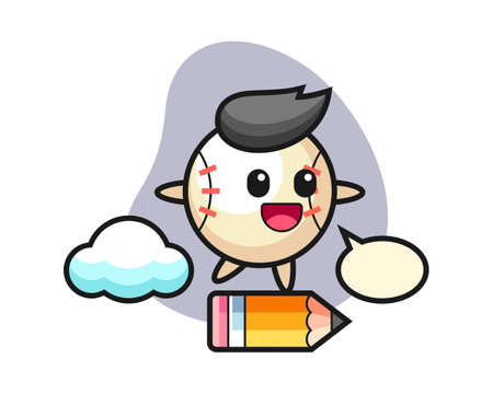 Baseball cartoon riding on a giant pencil, cute style mascot character for t shirt, sticker design, logo element 일러스트