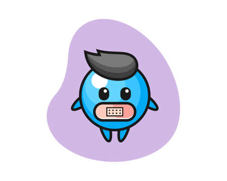 Gum ball cartoon with tape on mouth, cute style mascot character for t shirt, sticker design, logo element  イラスト・ベクター素材