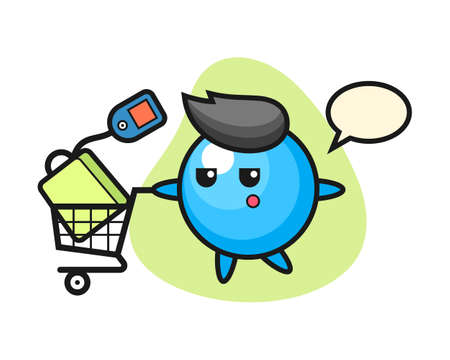 Gum ball cartoon with a shopping cart, cute style mascot character for t shirt, sticker design, logo element  イラスト・ベクター素材