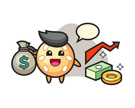 Sesame ball cartoon holding money sack, cute style mascot character for t shirt, sticker design, logo element