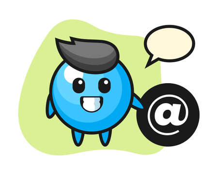 Gum ball cartoon standing beside the at symbol, cute style mascot character for t shirt, sticker design, logo element