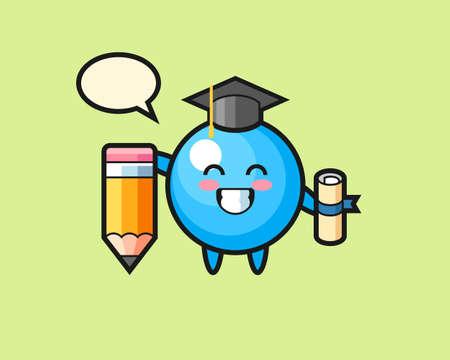 Gum ball cartoon graduation with a giant pencil, cute style mascot character for t shirt, sticker design, logo element