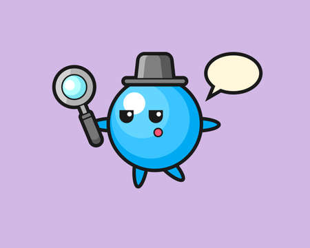 Gum ball cartoon searching with a magnifying glass, cute style mascot character for t shirt, sticker design, logo element  イラスト・ベクター素材