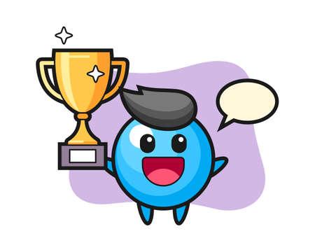 Gum ball cartoon happy holding up the golden trophy, cute style mascot character for t shirt, sticker design, logo element 일러스트