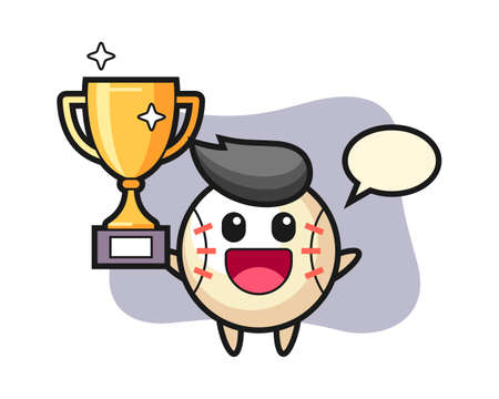 Baseball cartoon happy holding up the golden trophy, cute style mascot character for t shirt, sticker design, logo element