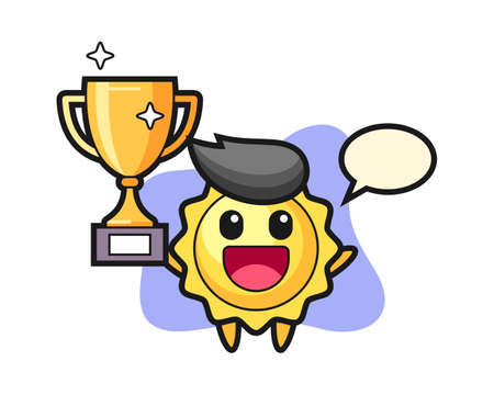 Sun cartoon happy holding up the golden trophy, cute style mascot character for t shirt, sticker design, logo element