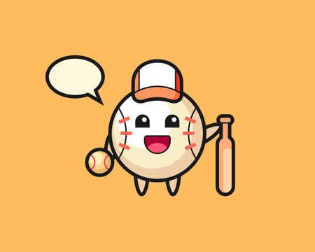 Baseball cartoon as a baseball player, cute style mascot character for t shirt, sticker design, logo element