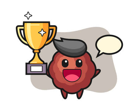Meatball cartoon happy holding up the golden trophy, cute style mascot character for t shirt, sticker design, logo element