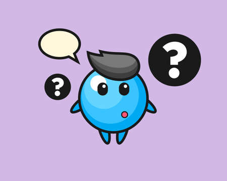 Gum ball cartoon with the question mark, cute style mascot character for t shirt, sticker design, logo element  イラスト・ベクター素材