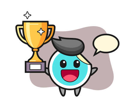 Sticker cartoon happy holding up the golden trophy, cute style mascot character for t shirt, sticker design, logo element 일러스트