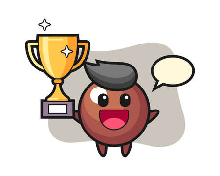 Chocolate ball cartoon happy holding up the golden trophy, cute style mascot character for t shirt, sticker design, logo element