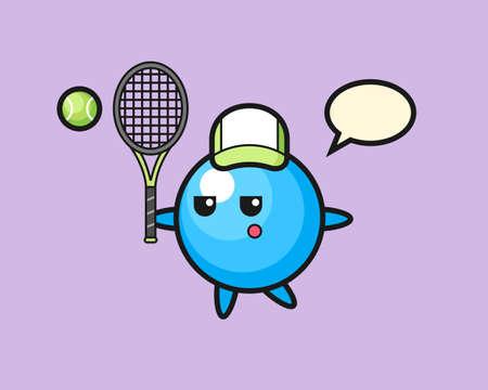 Gum ball cartoon as a tennis player, cute style mascot character for t shirt, sticker design, logo element