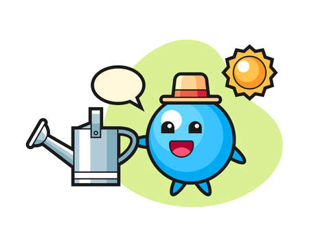 Gum ball cartoon holding watering can, cute style mascot character for t shirt, sticker design, logo element  イラスト・ベクター素材