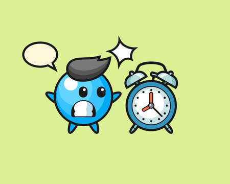 Gum ball cartoon surprised with a giant alarm clock, cute style mascot character for t shirt, sticker design, logo element