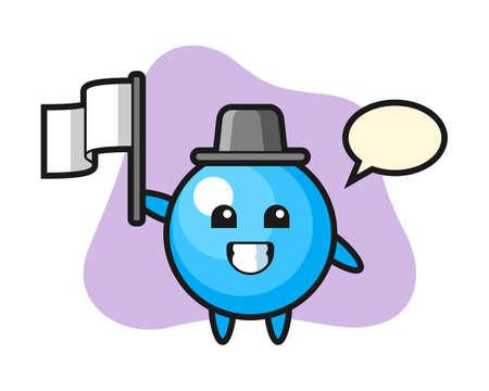 Gum ball cartoon holding a flag, cute style mascot character for t shirt, sticker design, logo element