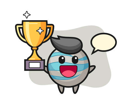 Planet cartoon happy holding up the golden trophy, cute style mascot character for t shirt, sticker design, logo element 일러스트