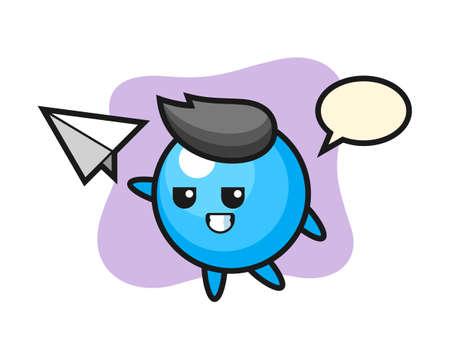 Gum ball cartoon throwing paper airplane, cute style mascot character for t shirt, sticker design, logo element