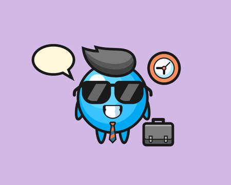 Gum ball cartoon as a businessman, cute style mascot character for t shirt, sticker design, logo element Illustration