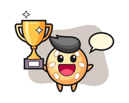Sesame ball cartoon happy holding up the golden trophy, cute style mascot character for t shirt, sticker design, logo element 일러스트