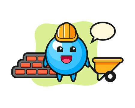 Gum ball cartoon as a builder, cute style mascot character for t shirt, sticker design, logo element  イラスト・ベクター素材