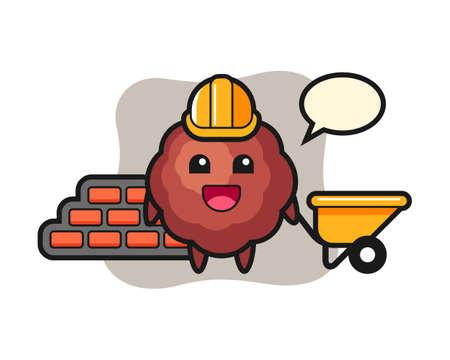 Meatball cartoon as a builder, cute style mascot character for t shirt, sticker design, logo element