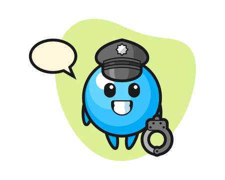Gum ball cartoon as a police, cute style mascot character for t shirt, sticker design, logo element